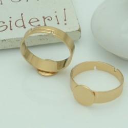 Base anelli regolabili con piatto 8 mm col oro misura in acciaio per i tuoi anelli alla moda!!!