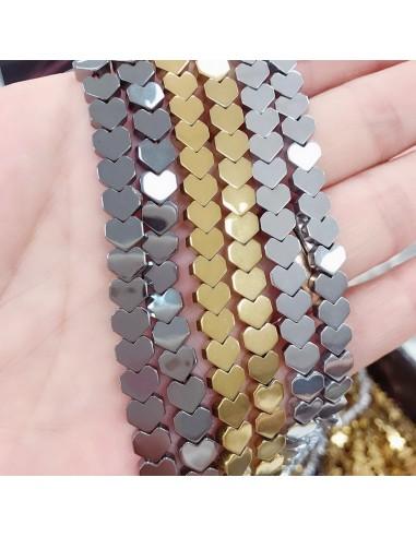 perle ematite distanziatore forma cuore liscio 6 mm spessore 2.3 mm filo 40 cm