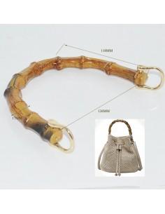 Manico per borse in resina forma bambù 12 x 15 cm con attacchi in metalli col oro fai da te
