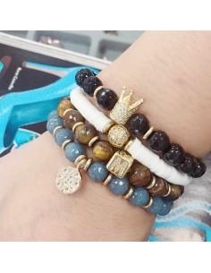 bracciale elasticizzato perle pietre dure !!!