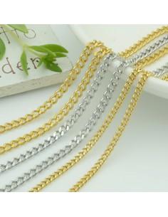 Catena grumetta piatta in acciaio varia misure per bigiotteria 1 mt orecchini collane e bracciali fai da te