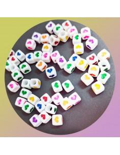 12 PZ Perle di cubo di plastica multicolore con cuore IN PLASTICA BIANCO 6 mm PER BIGIOTTERIA per le tue creazioni!!!