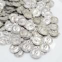 maxi 100 pz ciondoli forma Moneta 25 x 29 mm in metallo per fai da te