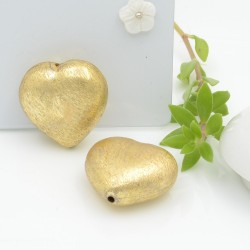 perle satinato forma cuore colore oro 20 mm 1 pz in ottone idea per orecchini e collana fai da te
