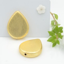 perle satinato forma gocce piatta colore oro 20 x 26 mm 1 pz in ottone idea per orecchini e collana fai da te
