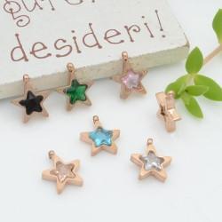 Charms in acciaio forma stella Punto Luce in zirconi oro rosa 8.5 mm 1pz varia colori PER BRACCIALE E COLLANA per fai da te