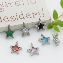 Charms in acciaio forma stella Punto Luce in zirconi argento 8.5 mm 1pz varia colori PER BRACCIALE E COLLANA per fai da te