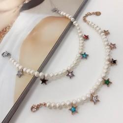 bracciale Perle Di Fiume e ciondolo in acciaio forma stella zirconi