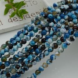 pietra dure agata tondo sfaccettata col blu 4 mm 94 pz 39 cm per i tuoi gioielli