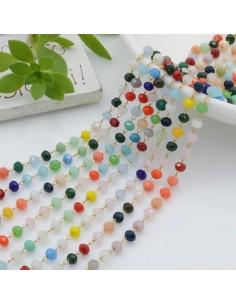 catena rosario con cristalli 2.5 x 3.5 mm base oro in acciaio colore mix per le tue creazione !