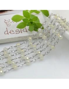 catena rosario in acciaio concatenata con cristalli 4 mm col bianco rodiato giallo 50 cm per fai da te