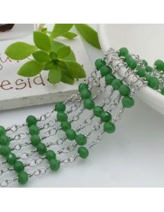 catena rosario in acciaio concatenata con cristalli 4 mm col verde pieno 50 cm per fai da te