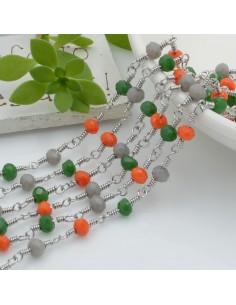 catena rosario in acciaio concatenata con cristalli 4 mm col mix 50 cm per fai da te