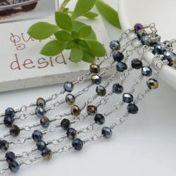catena rosario in acciaio concatenata con cristalli 4 mm col Jet hematite AB 50 cm per fai da te
