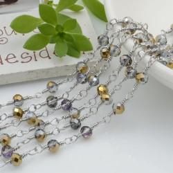 catena rosario in acciaio concatenata con cristalli 4 mm col fume oro 50 cm per fai da te
