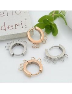 base orecchini cerchio con 5 anellini 13 mm cerchio tonde chiuse per ciondoli IN ACCIAIO per le tue creazioni