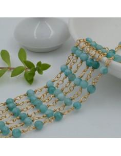 catena rosario pietre agata sfaccettato 4 mm con catenata filo oro in ottone 50 cm per fai da te