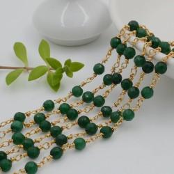 catena rosario pietre agata verde sfaccettato 4 mm con catenata filo oro in ottone 50 cm per fai da te