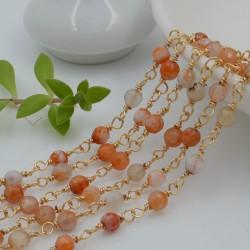 catena rosario pietre agata del fuoco sfaccettato 4 mm con catenata filo oro in ottone 50 cm per fai da te