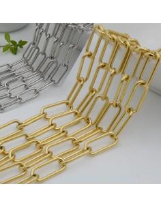 Catena rettangolare in acciaio con filo liscio 7 x 17 mm 50 cm Inossidabile per gioielli fai da te