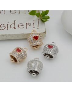 ciondoli campanella smaltato cuore rosso con Strass zircone 10 x 14 mm in rame per le tue creazioni