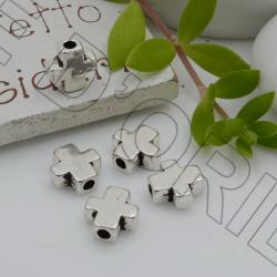 Distanziatori Perline piatto 8.3 x 3.5 mm 10 pz a forma di croce in metallo per bigiotteria per le tue creazioni!