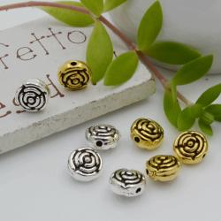 Distanziatori Perline con fantasia a fiore 7 x 5 mm 10 pz in metallo per bigiotteria per le tue creazioni!