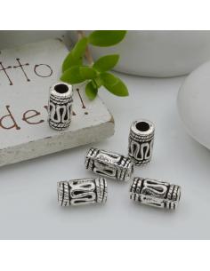 Distanziatori Perline con fantasia a forma di cilindro 10 x 5 mm 9 pz in metallo per bigiotteria per le tue creazioni!
