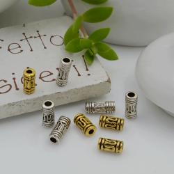 Distanziatori Perline con fantasia a forma di cilindro 6.5 x 3 mm 24 pz in metallo per bigiotteria per le tue creazioni!