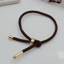 base bracciale cordone corda colore marrone scuro spessore 3 mm lunghezza 22 cm con chiusura regalabile