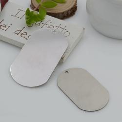ciondoli forma di targhetta da incidere in acciaio con foro 1 pz per le tue creazioni