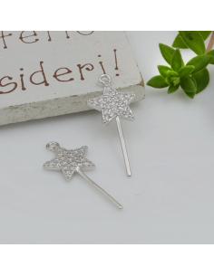 ciondolo bacchetta magica con zirconi in argento 925 misura 11 x 25 mm per decorare le tuo gioielli Made in Italy