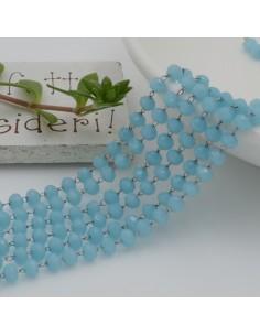 catena rosario con cristalli 2.5 x 3.5 mm 50 CM base argento in acciaio colore azzurro per le tue creazione !!!