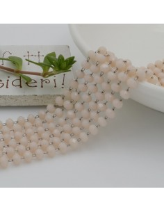 catena rosario con cristalli 2.5 x 3.5 mm 50 CM base argento in acciaio colore panna per le tue creazione !!!