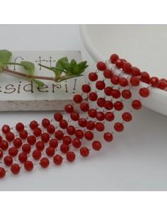 catena rosario con cristalli 2.5 x 3.5 mm 50 CM base argento in acciaio colore rosso per le tue creazione !!!