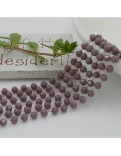 catena rosario con cristalli 2.5 x 3.5 mm 50 CM base argento in acciaio colore lilla per le tue creazione !!!