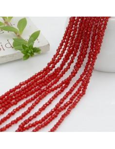 Fili di zirconi piccolissima rotonda 2 mm col rosso scuro taglio brillante e sfaccettata circa 200 pz 36 cm