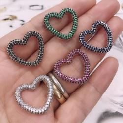 ciondoli forma cuore con zirconi 22 mm base argento varia colore per le tue creazione