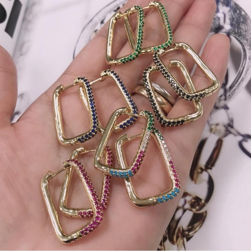orecchini da donna cerchio rettangolo 19 x 30 mm con zirconi varia colore