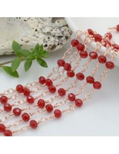 catena rosario base oro rosa chiaro concatenata cristalli colore rosso scuro 4 mm in ottone 50 cm per le tue creazioni