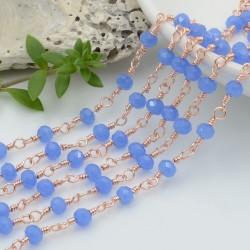 catena rosario base oro rosa chiaro concatenata cristalli colore blu reale 4 mm in ottone 50 cm per le tue creazioni