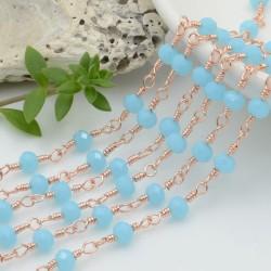 catena rosario base oro rosa chiaro concatenata cristalli colore turchese 4 mm in ottone 50 cm per le tue creazioni