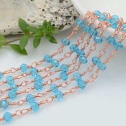 catena rosario base oro rosa concatenata cristalli colore azzurro chiaro 4 mm in ottone 50 cm