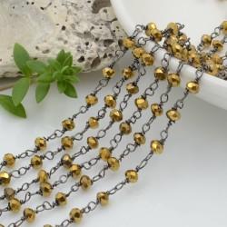 catena rosario cristalli colore oro metallic 3 mm concatenata filo canna di fucile in ottone 50 cm per fai da te