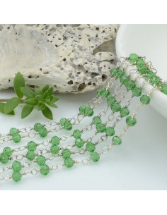 catena rosario cristalli colore verde trasparente 3 mm concatenata filo argento in ottone 50 cm per fai da te