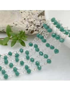 catena rosario cristalli colore tiffany 3 mm concatenata filo argento in ottone 50 cm per fai da te