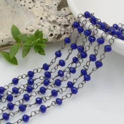 catena rosario cristalli colore blu 3 mm concatenata filo canna di fucile in ottone 50 cm per fai da te