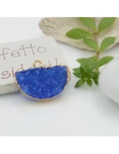 Ciondolo Druzy in Resina a forma di ventaglio 24 x 18 mm colore blu bordo placcato oro per le tue creazioni