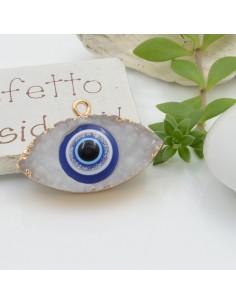 Ciondolo Druzy in Resina forma occhio greco 20 x 30 mm colore bianco bordo placcato oro per le tue creazioni