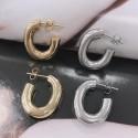 Orecchini cerchio forma ovale grosso in acciaio liscio 19 x 22 mm spesso 5 mm da donna